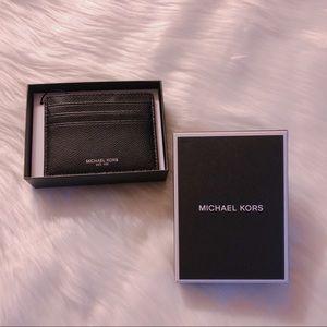 BNIB Michael Kors Black Leather Warren Card Holder